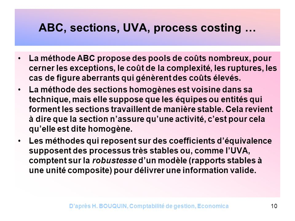 ABC, sections, UVA, process costing …