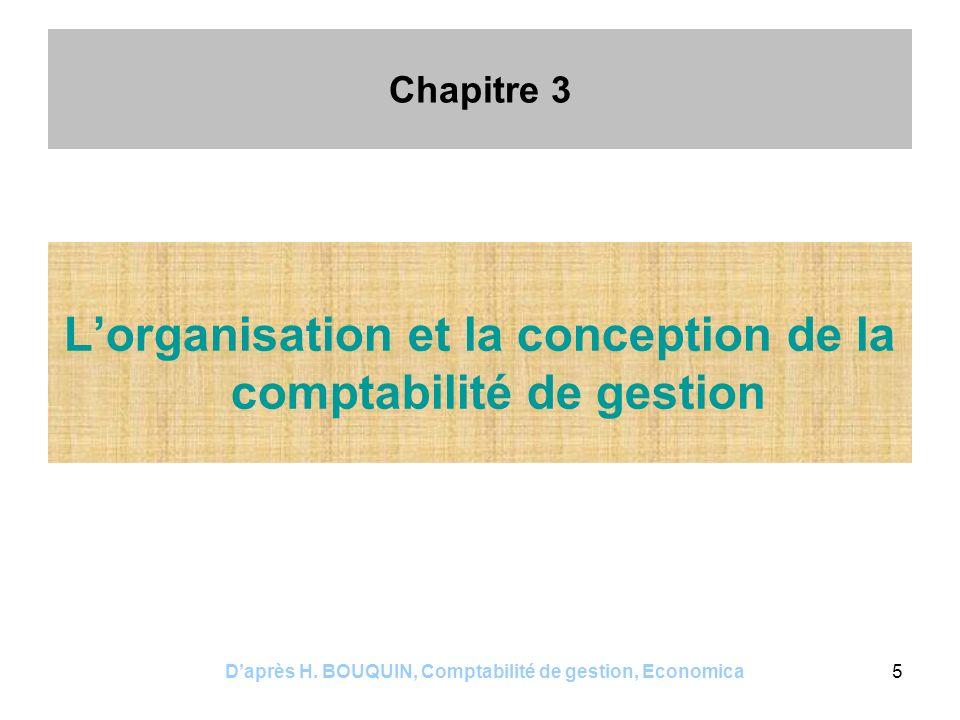 L'organisation et la conception de la comptabilité de gestion