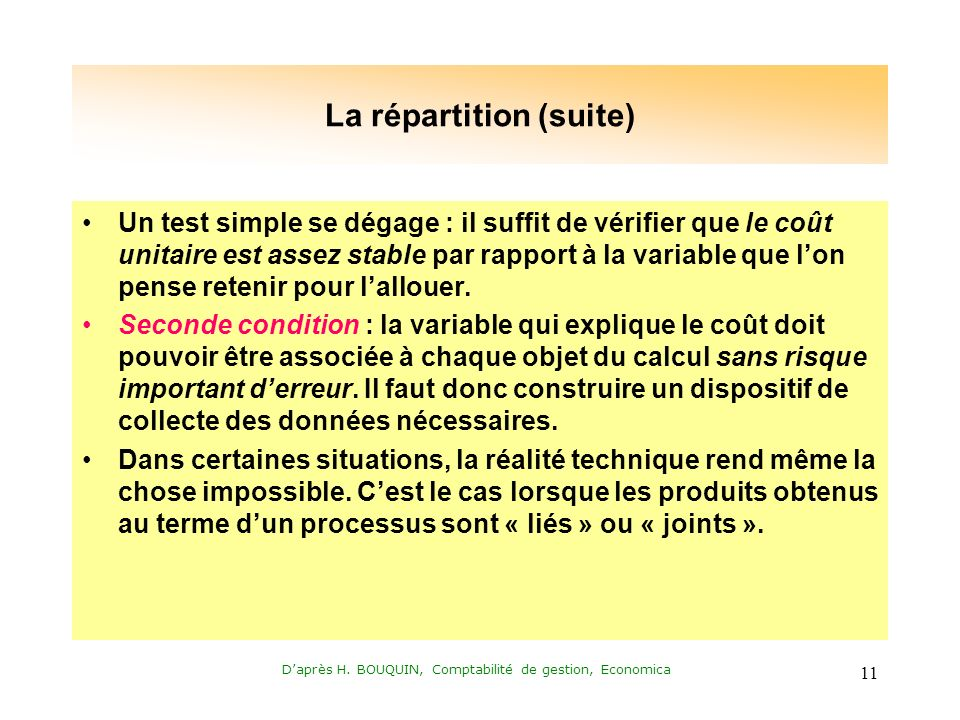 La répartition (suite)