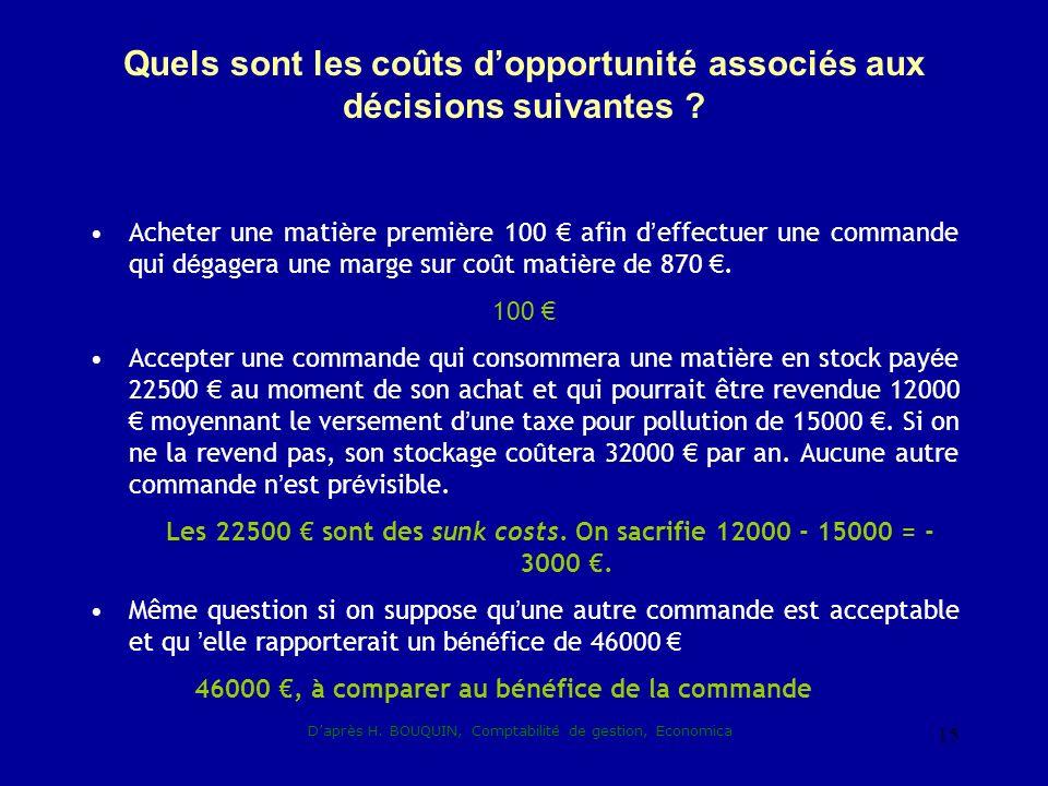 Quels sont les coûts d'opportunité associés aux décisions suivantes