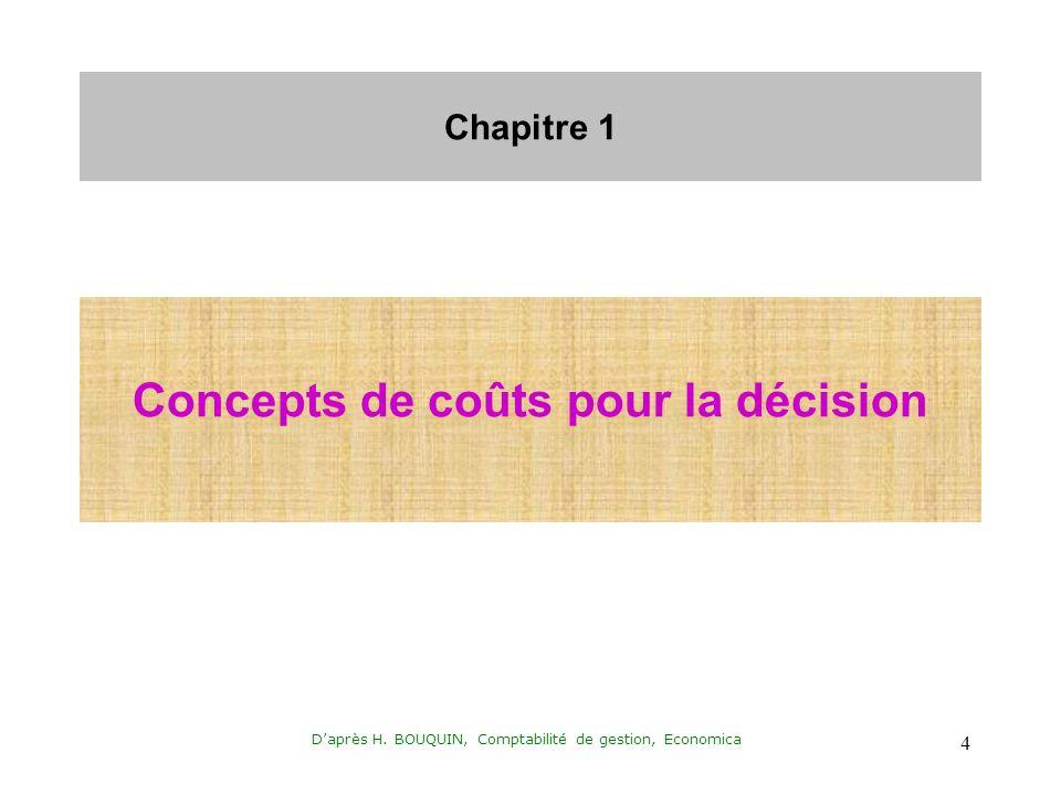 Concepts de coûts pour la décision