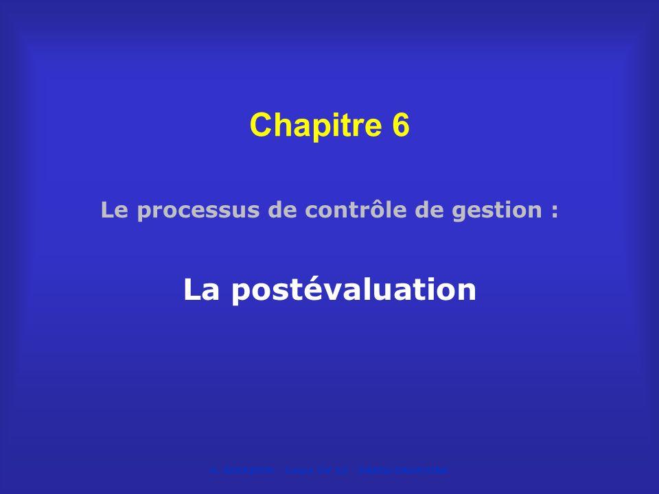 Le processus de contrôle de gestion : La postévaluation