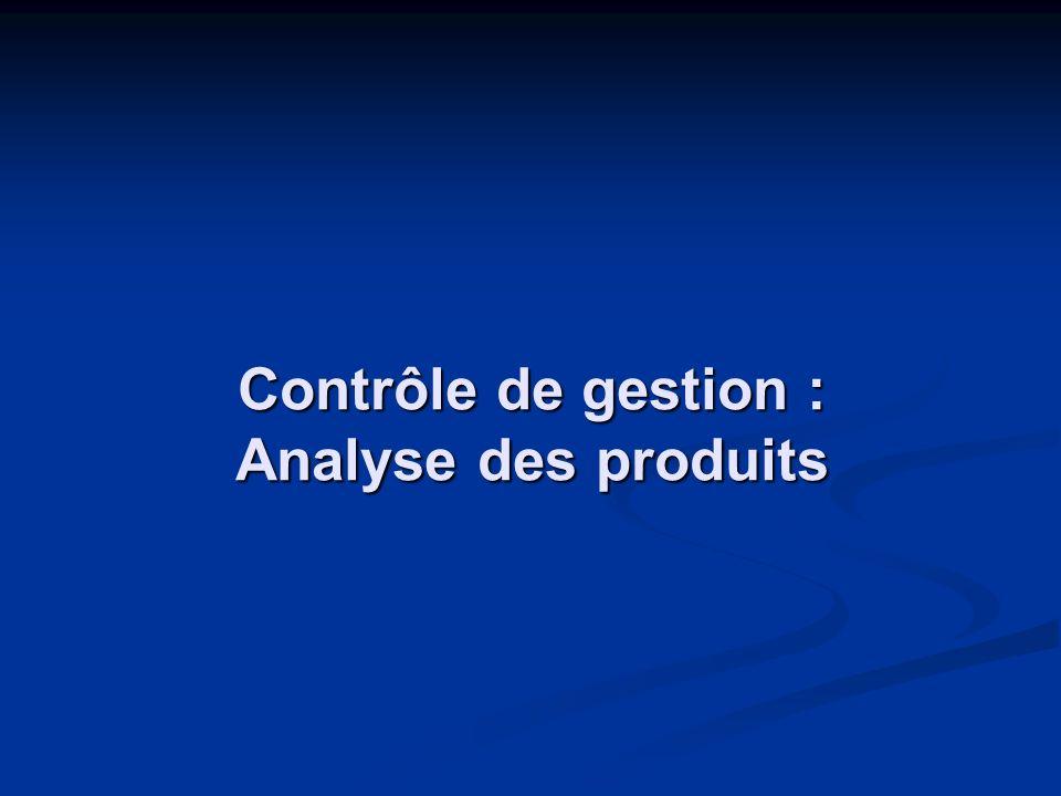 Contrôle de gestion : Analyse des produits