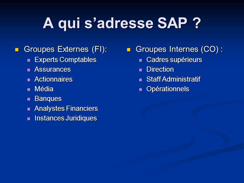 A qui s'adresse SAP Groupes Externes (FI): Groupes Internes (CO) :