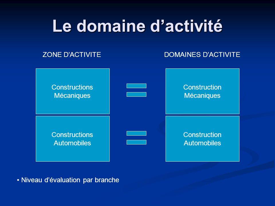 Le domaine d'activité ZONE D'ACTIVITE DOMAINES D'ACTIVITE
