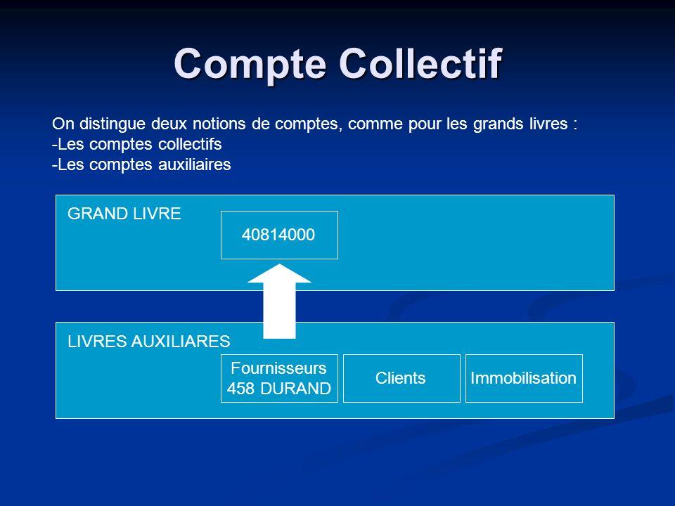 Compte Collectif On distingue deux notions de comptes, comme pour les grands livres : Les comptes collectifs.