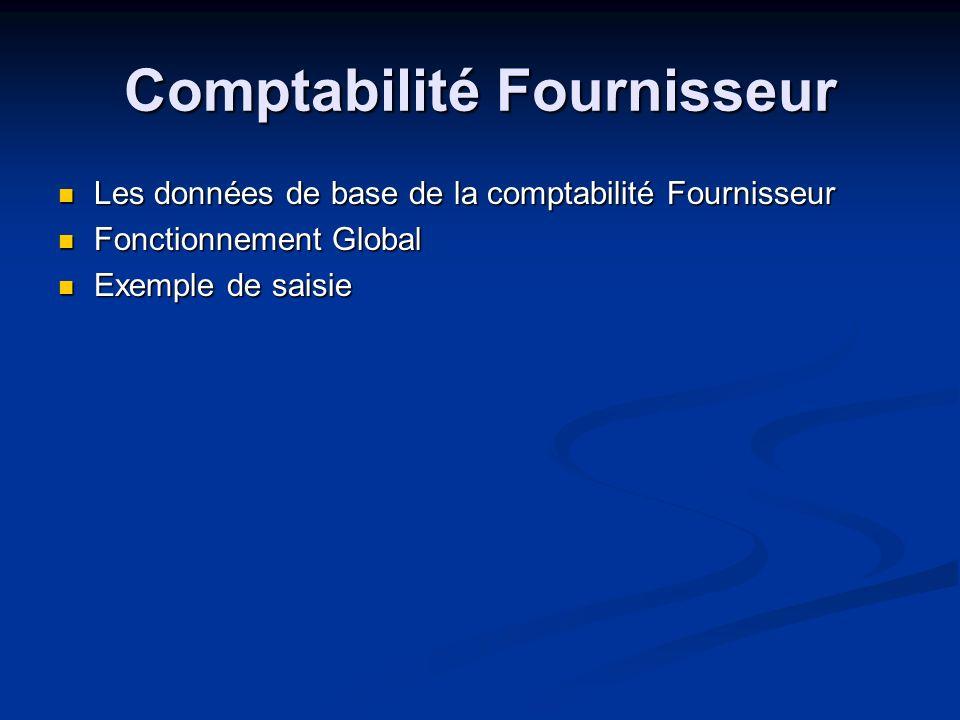 Comptabilité Fournisseur