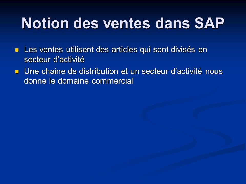 Notion des ventes dans SAP