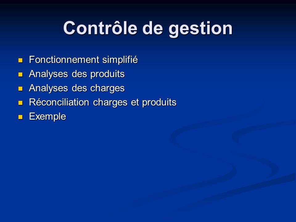 Contrôle de gestion Fonctionnement simplifié Analyses des produits
