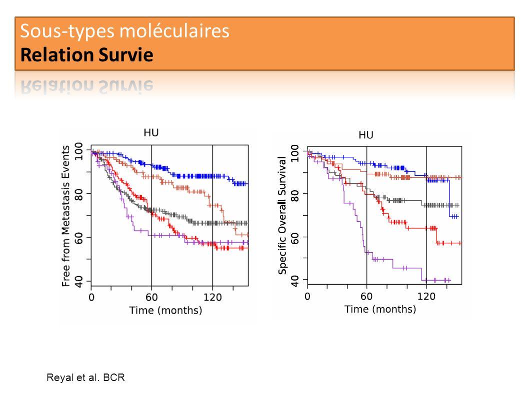 Sous-types moléculaires Relation Survie