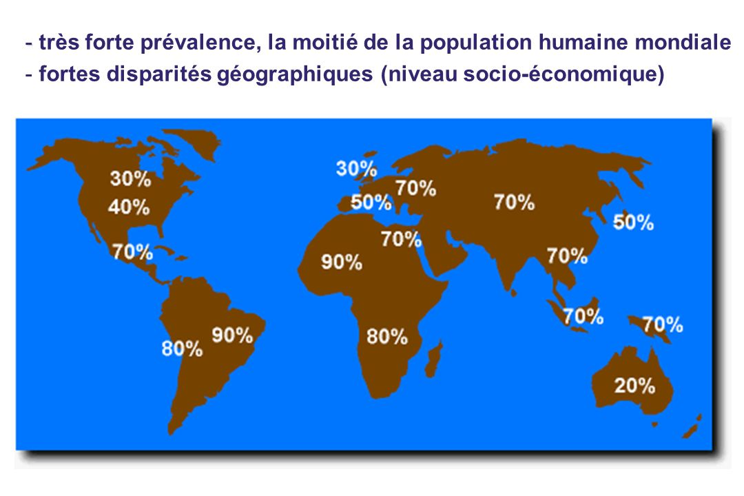 très forte prévalence, la moitié de la population humaine mondiale