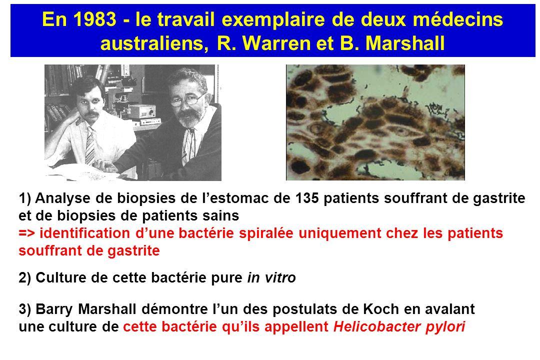 En 1983 - le travail exemplaire de deux médecins australiens, R