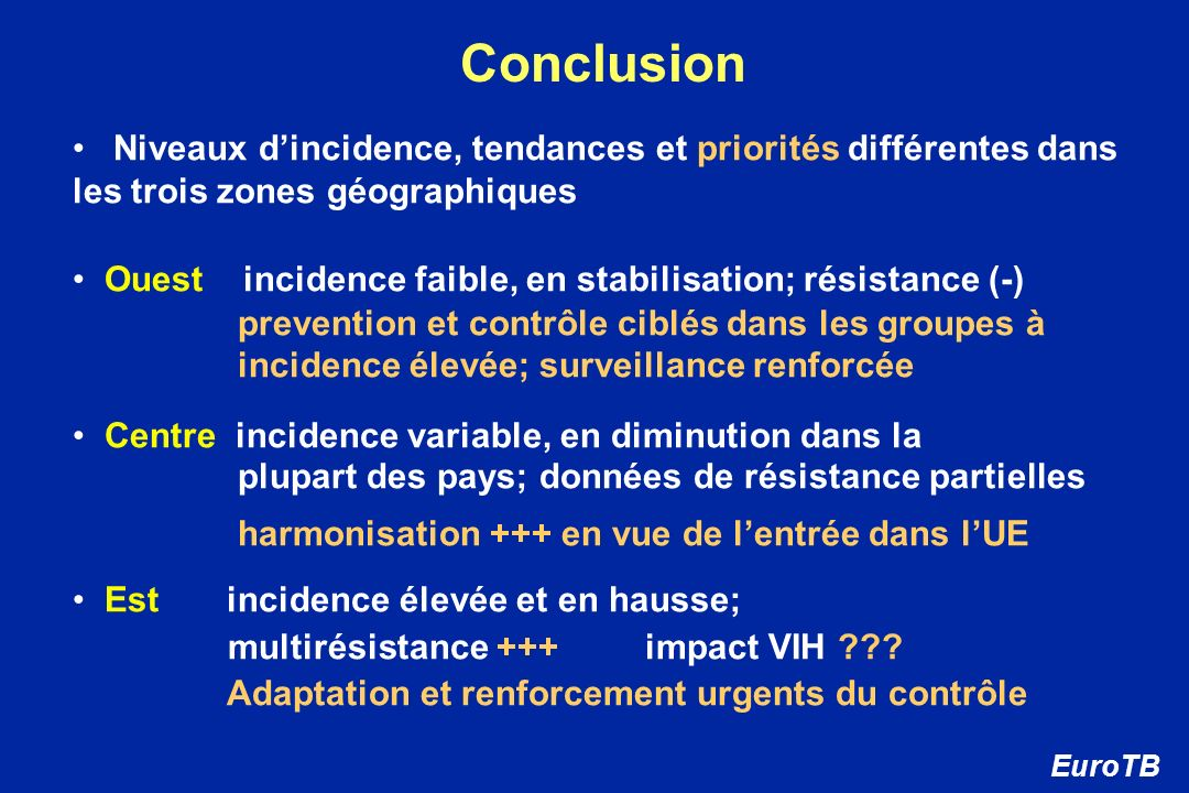 Conclusion Niveaux d'incidence, tendances et priorités différentes dans les trois zones géographiques.