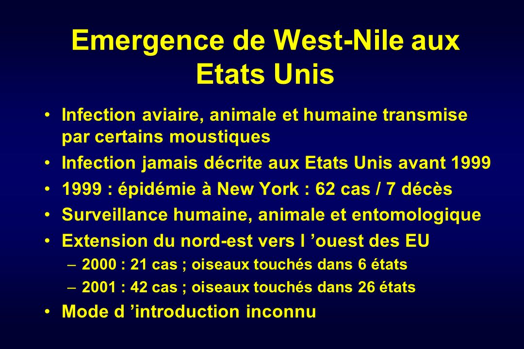 Emergence de West-Nile aux Etats Unis