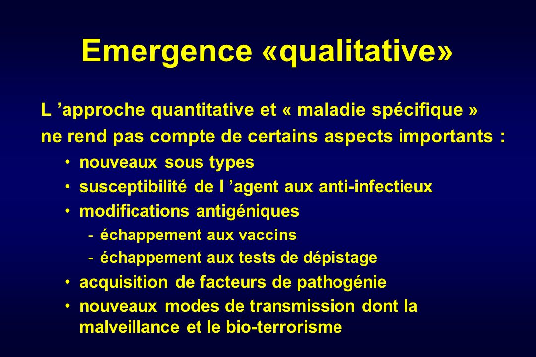 Emergence «qualitative»