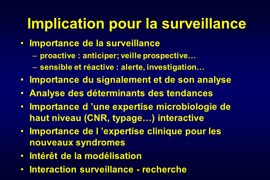 Implication pour la surveillance