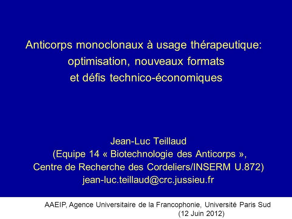 Anticorps monoclonaux à usage thérapeutique: optimisation, nouveaux formats et défis technico-économiques