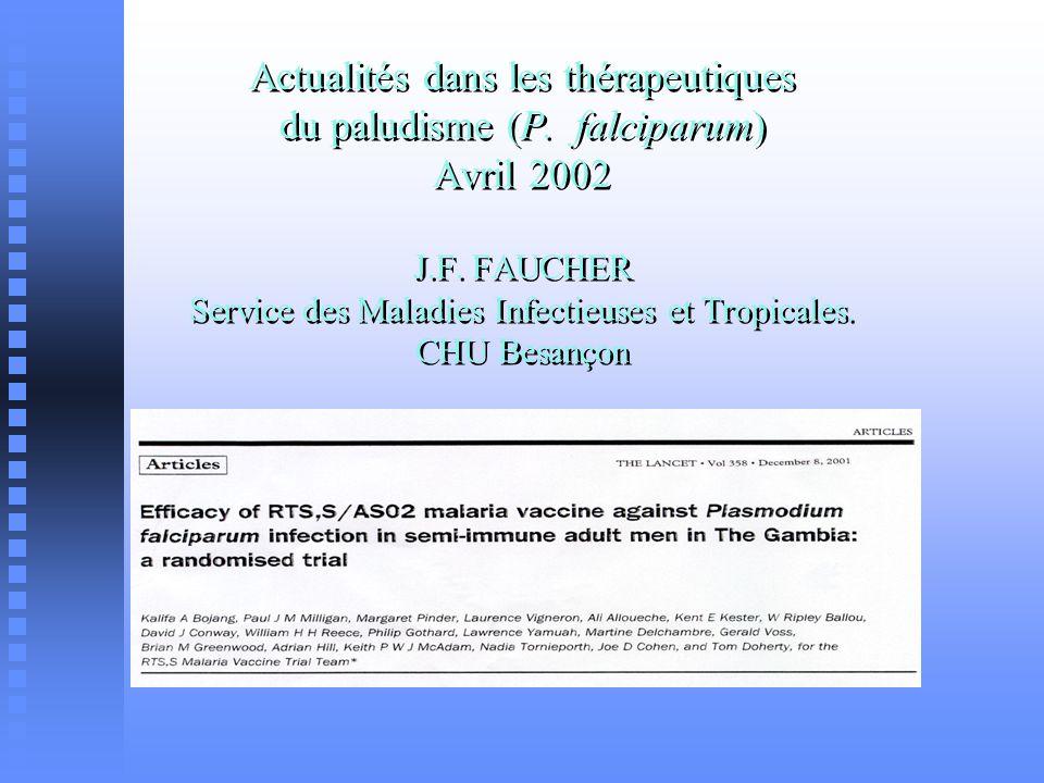 Actualités dans les thérapeutiques du paludisme (P