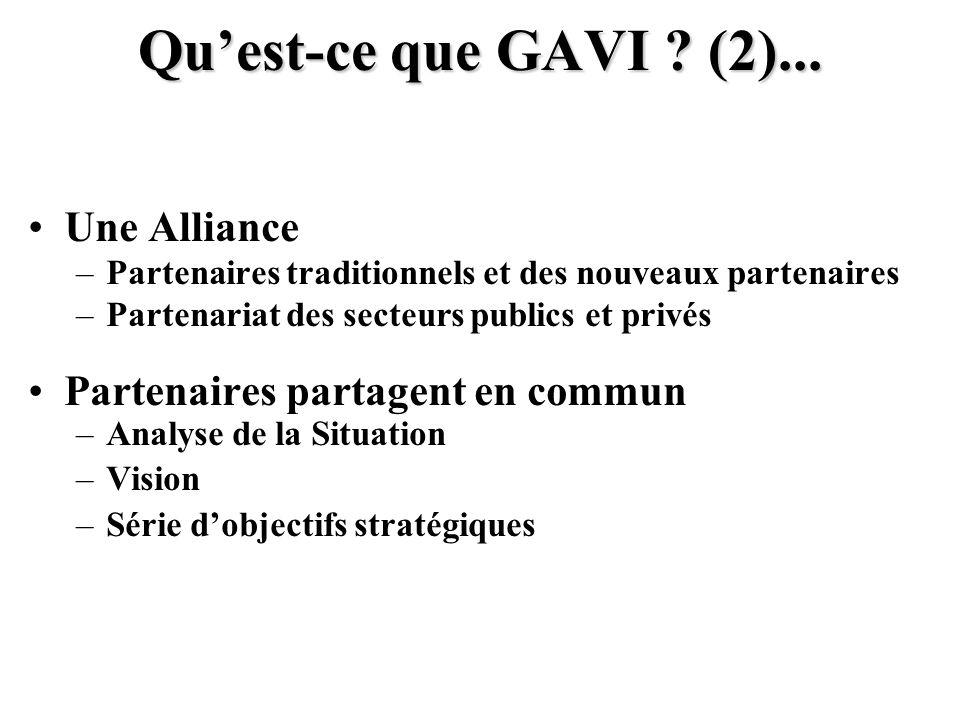 Qu'est-ce que GAVI (2)... Une Alliance