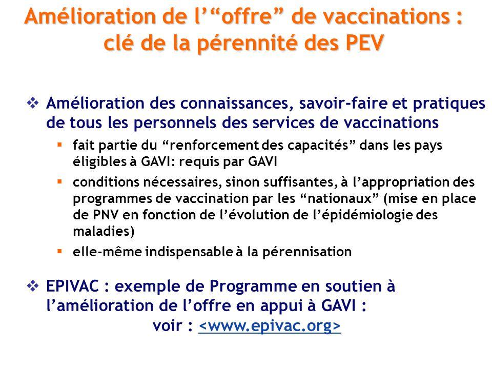 Amélioration de l' offre de vaccinations :