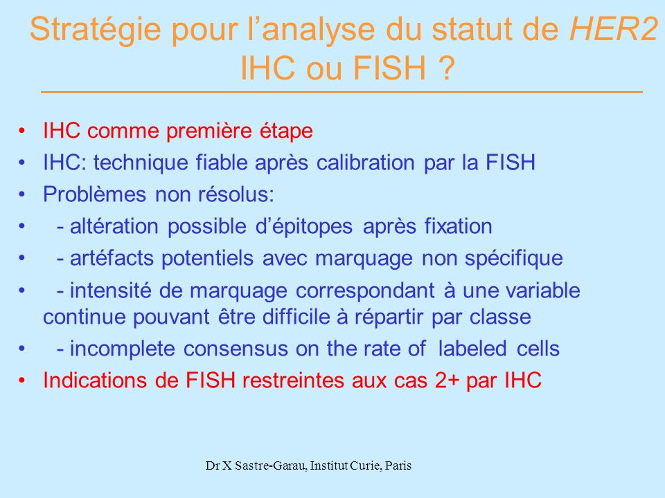 Stratégie pour l'analyse du statut de HER2 IHC ou FISH