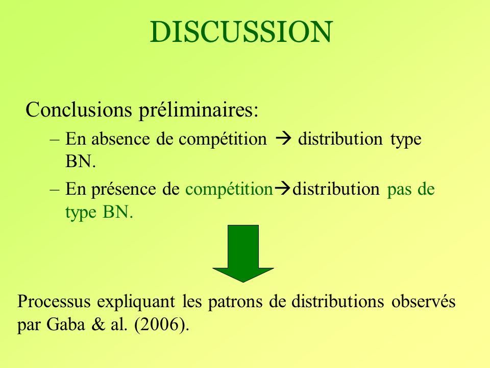 DISCUSSION Conclusions préliminaires: