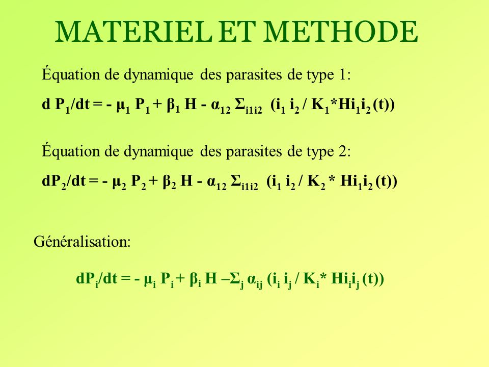 dPi/dt = - μi Pi + βi H –Σj αij (ii ij / Ki* Hiiij (t))