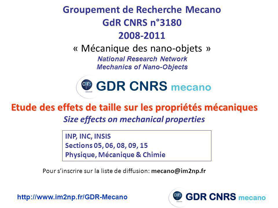 Groupement de Recherche Mecano GdR CNRS n°3180 2008-2011