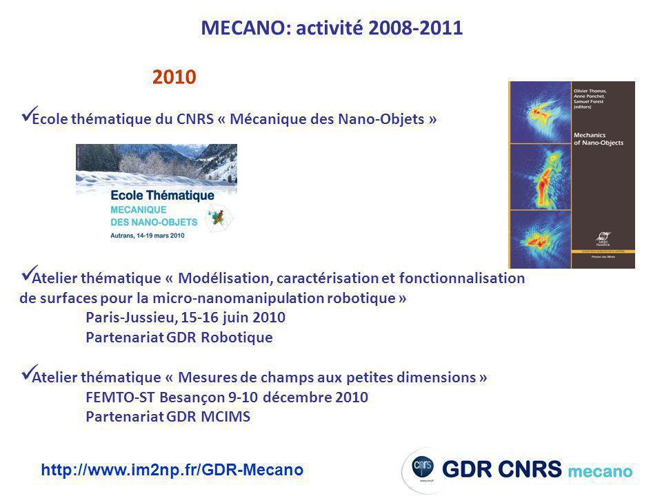 MECANO: activité 2008-2011 2010. Ecole thématique du CNRS « Mécanique des Nano-Objets »