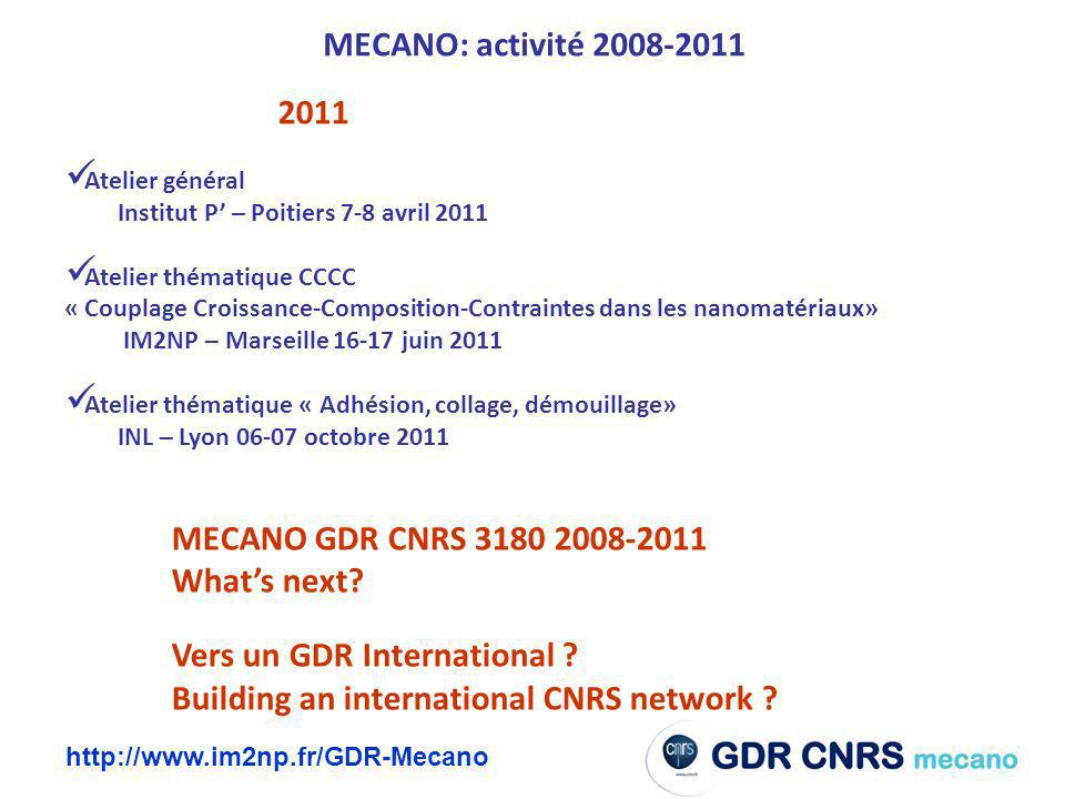 Building an international CNRS network MECANO: activité 2008-2011