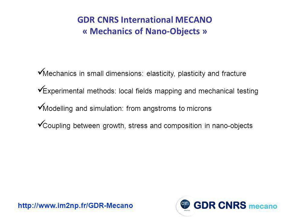 GDR CNRS International MECANO « Mechanics of Nano-Objects »