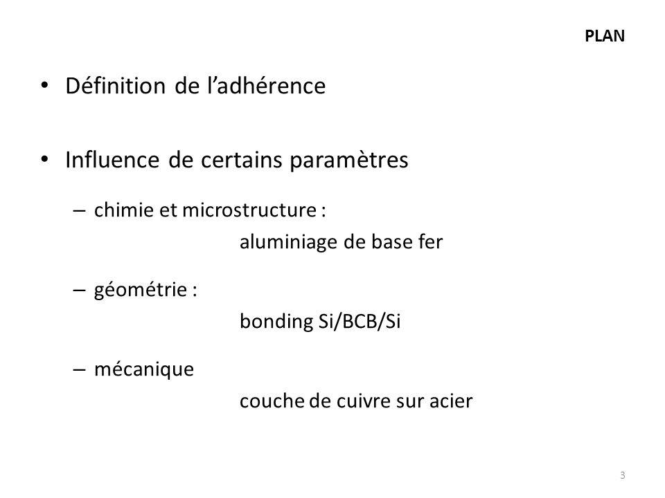Définition de l'adhérence Influence de certains paramètres