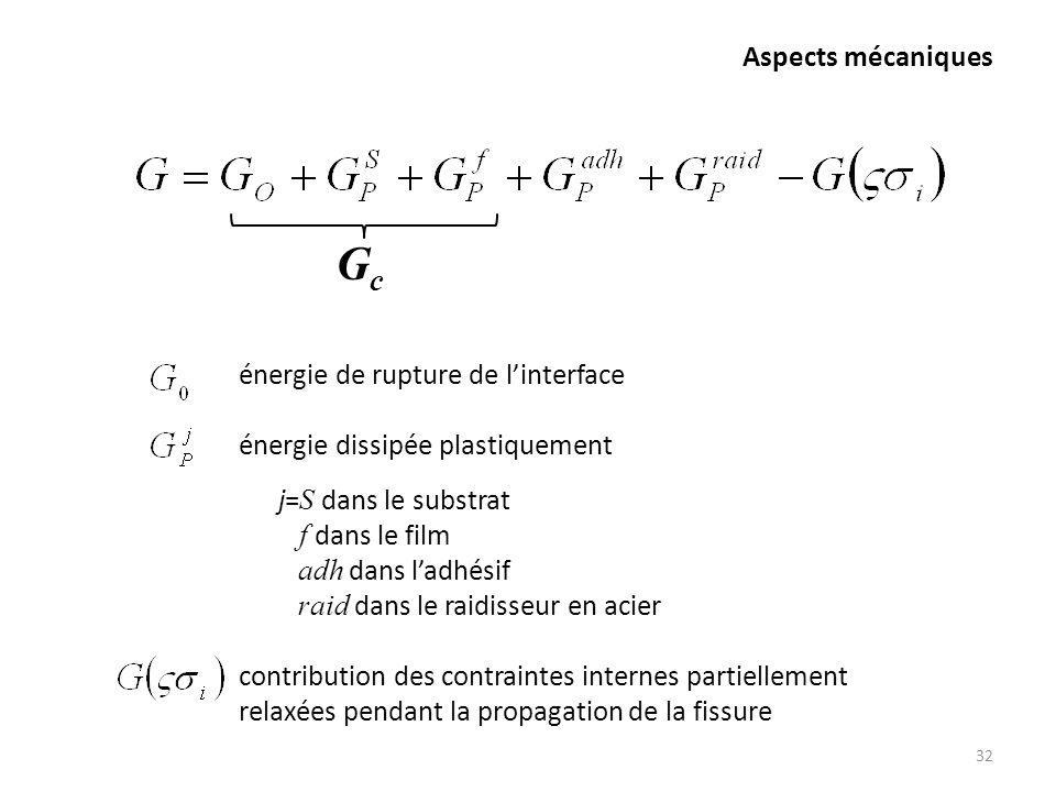 Gc Aspects mécaniques énergie de rupture de l'interface