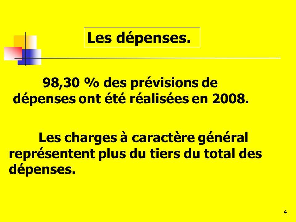 Les dépenses. 98,30 % des prévisions de dépenses ont été réalisées en 2008.