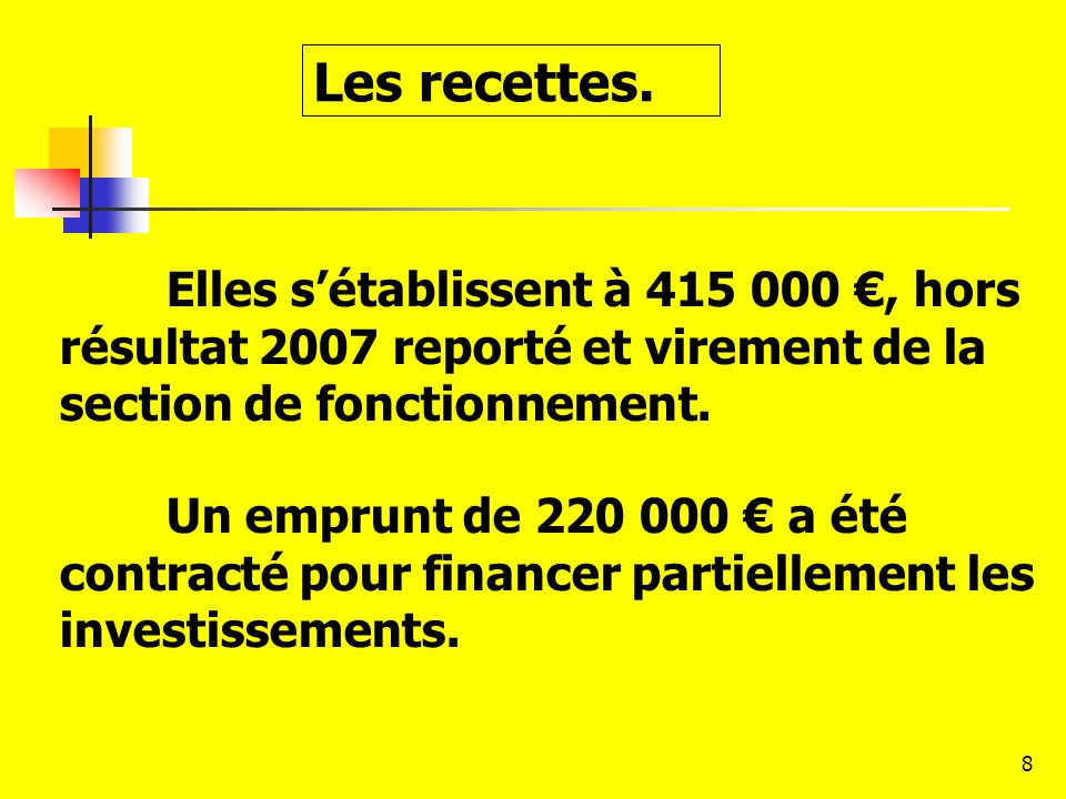 Les recettes. Elles s'établissent à 415 000 €, hors résultat 2007 reporté et virement de la section de fonctionnement.