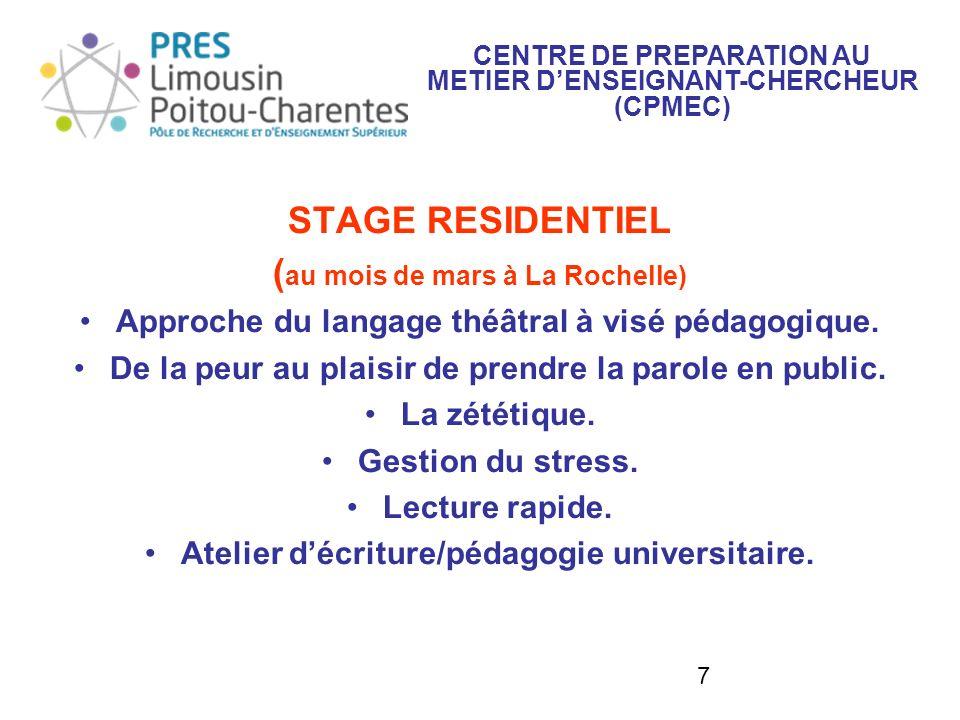 STAGE RESIDENTIEL (au mois de mars à La Rochelle)