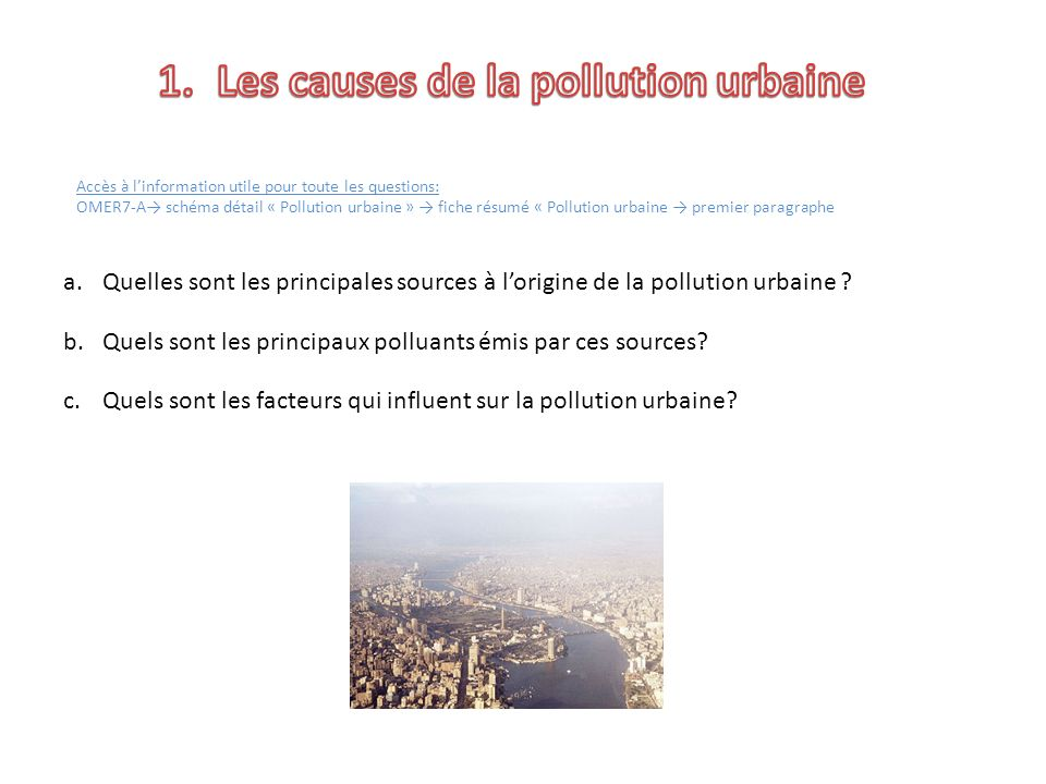 Les causes de la pollution urbaine