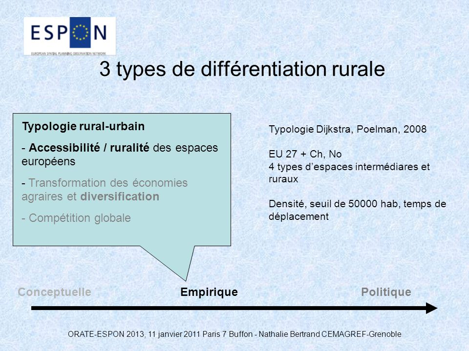 3 types de différentiation rurale
