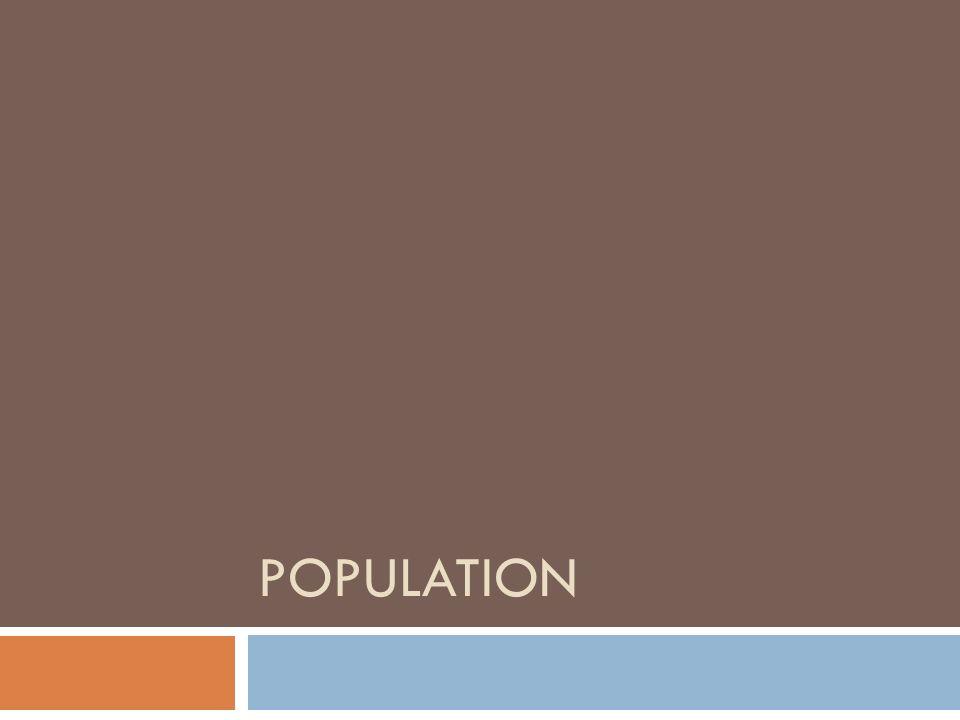 POPULATION Venons en à quelques résultats