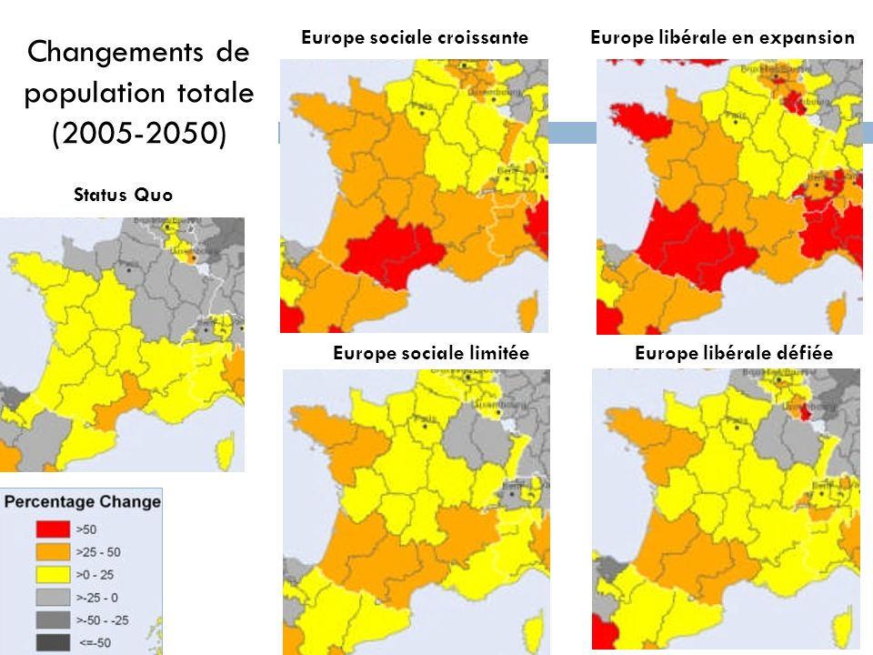 Changements de population totale ( ) Europe sociale croissante