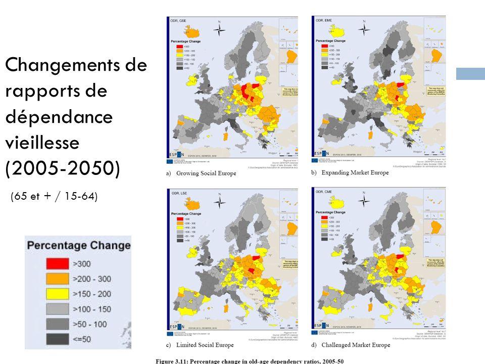 Changements de rapports de dépendance vieillesse (2005-2050)