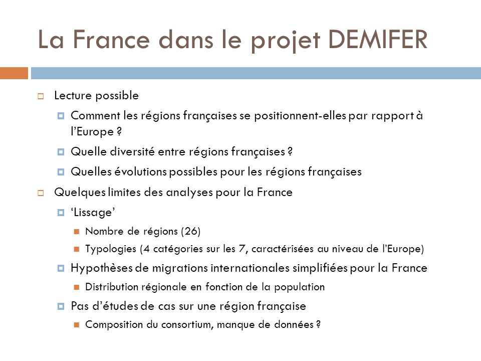 La France dans le projet DEMIFER