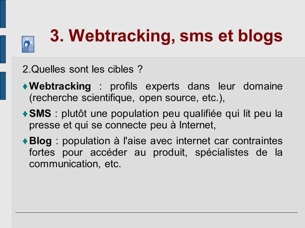 3. Webtracking, sms et blogs
