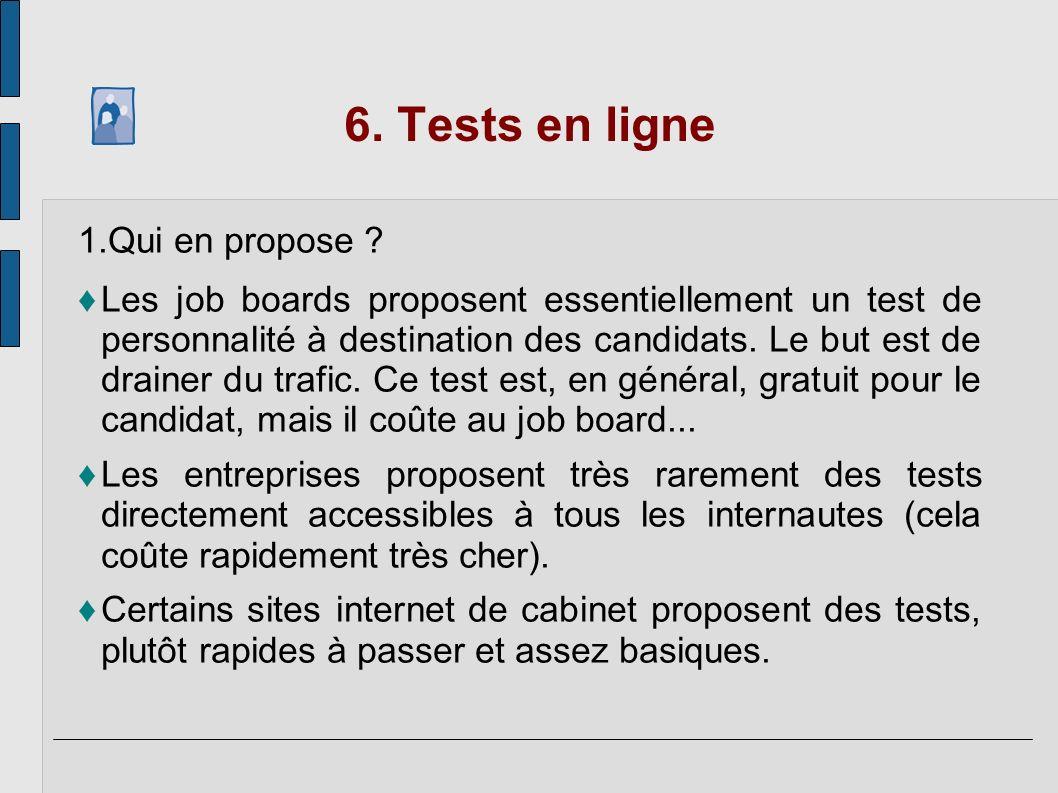 6. Tests en ligne Qui en propose