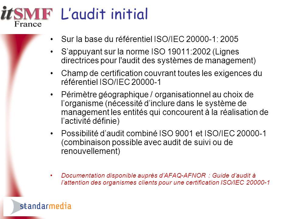 L'audit initial Sur la base du référentiel ISO/IEC 20000-1: 2005