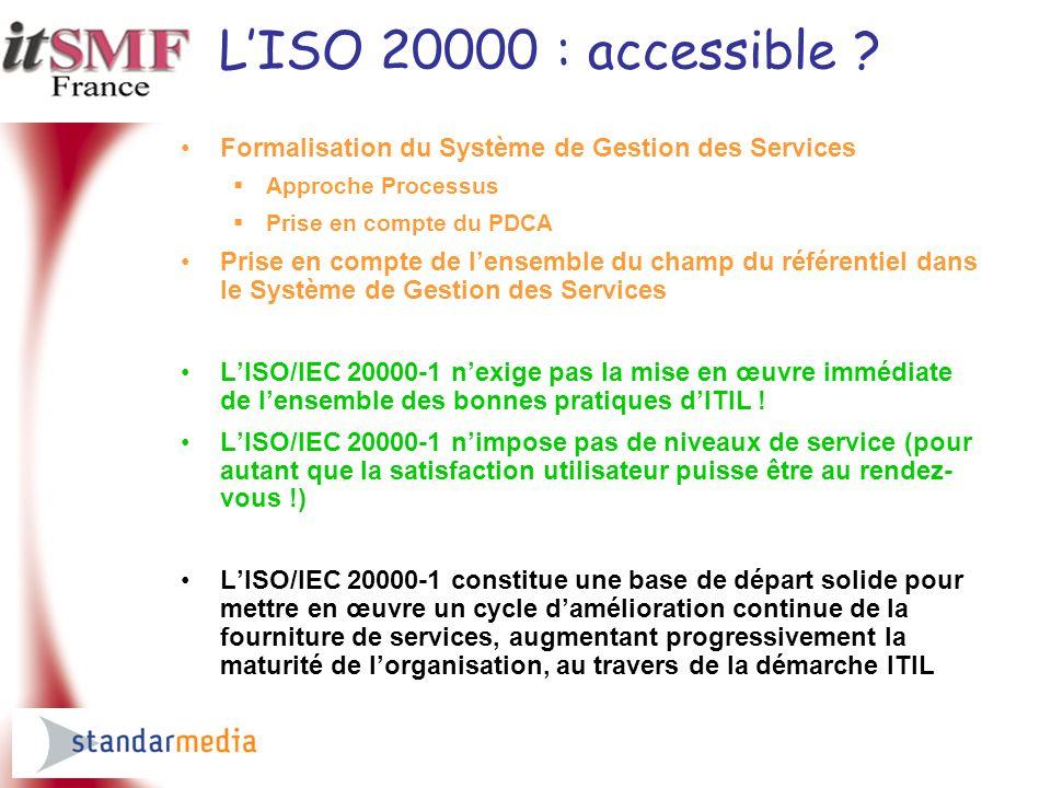 L'ISO 20000 : accessible Formalisation du Système de Gestion des Services. Approche Processus. Prise en compte du PDCA.