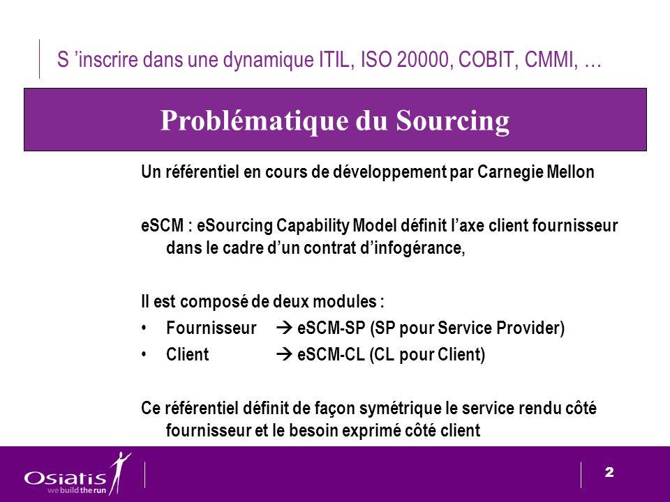 S 'inscrire dans une dynamique ITIL, ISO 20000, COBIT, CMMI, …