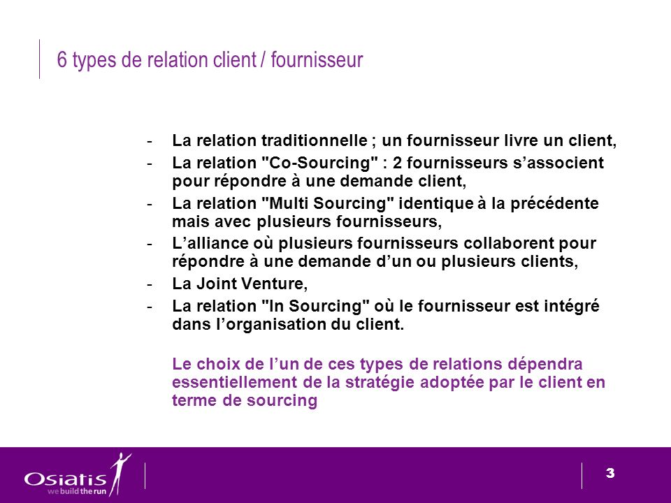 6 types de relation client / fournisseur