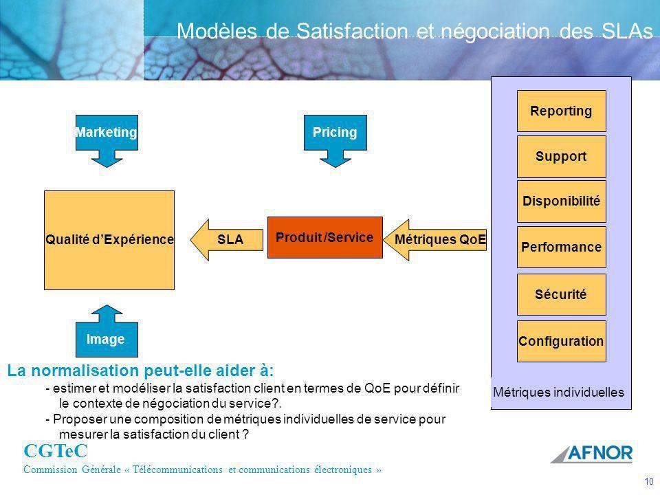 Modèles de Satisfaction et négociation des SLAs