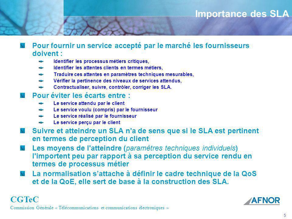 Importance des SLA Pour fournir un service accepté par le marché les fournisseurs doivent : Identifier les processus métiers critiques,